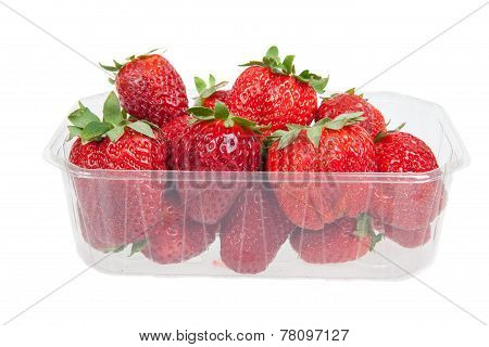 Fresh Strawberries In Plastic Box, Isolated On White