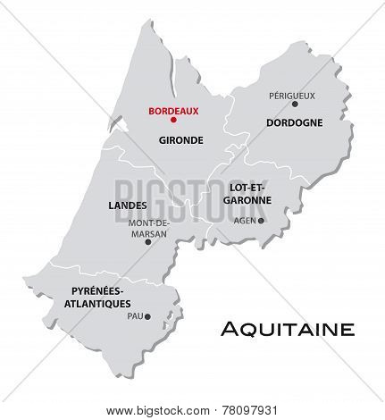 Simple Administrative Map Aquitaine