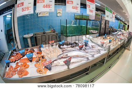 Raw Fish Ready For Sale In The Hypermarket Karusel