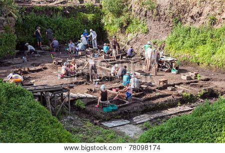 Archaeological Excavations Near The Walls Of An Ancient Kremlin In Veliky Novgorod