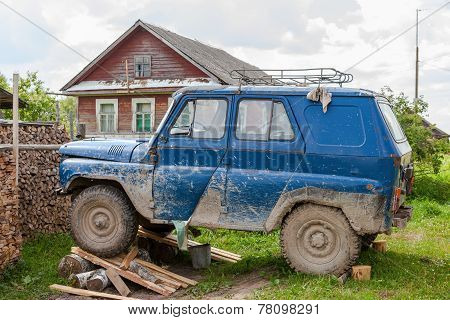 Old, Dirty Uaz Car Repaired In A Village