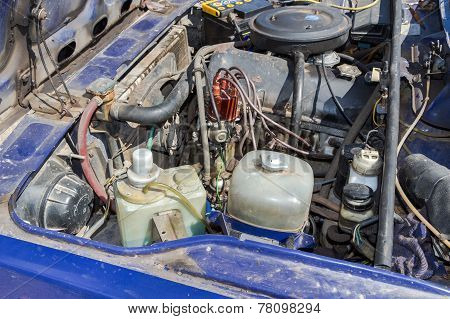 The Appearance Of The Engine Compartment Of The Old Soviet Car