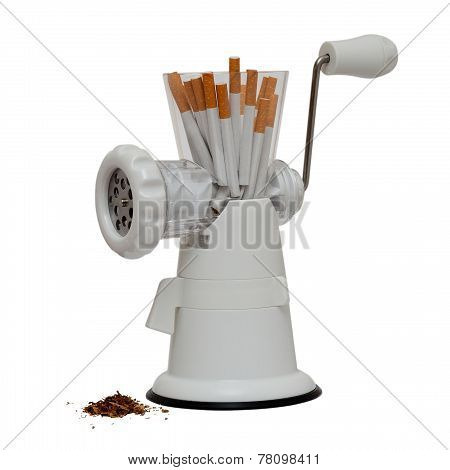 no smoking image with cigarettes in a meat grinder isolated