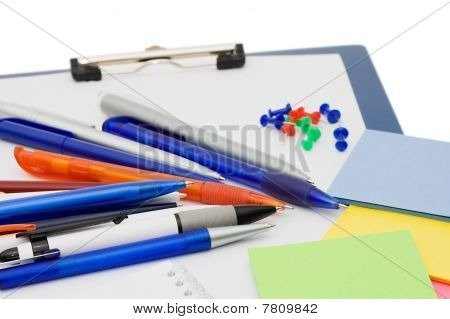 Set Of Ball Pens And The Note