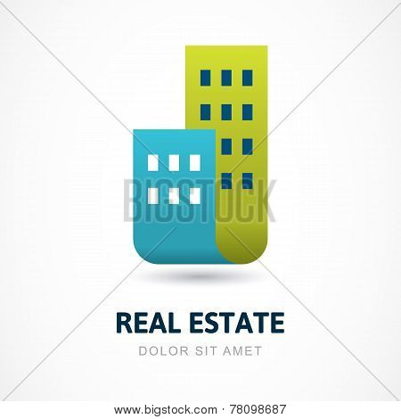 Abstract Silhouettes Of Buildings. Design Concept For Real Estate Company. Vector Logo Icon Template