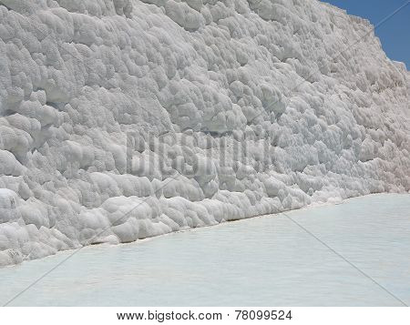 Famous White Calcium Travertines And Pools In Pamukkale, Turkey.