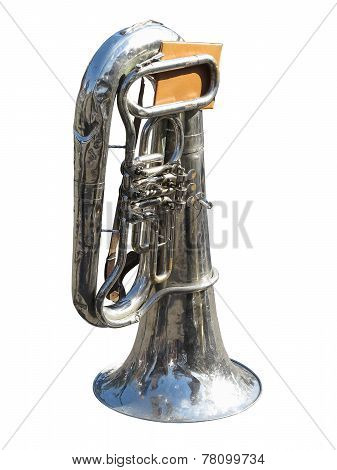Vintage Old Tuba With Notes  Isolated On White Background
