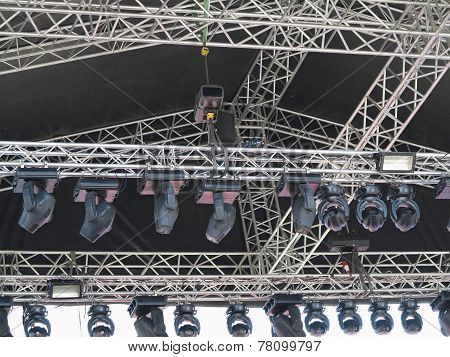 Structures Of Stage Illumination Spotlights Equipment And Speakers
