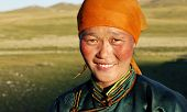 image of mongolian  - Beautiful young Mongolian lady in the late afternoon sun - JPG