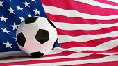 picture of usa flag  - soccer ball on the background of the flag of USA - JPG