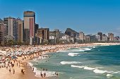 pic of ipanema  - Crowded Ipanema and Leblon Beaches on Clear Sunny Summer Day - JPG