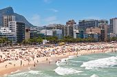 foto of ipanema  - Crowded Ipanema and Leblon Beaches on Clear Sunny Summer Day - JPG