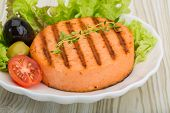 stock photo of crab-cakes  - Grilled Fish cakes in the bowl with salad leaves - JPG