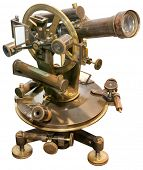 stock photo of theodolite  - Old Brass Theodolite Isolated with Clipping Path - JPG