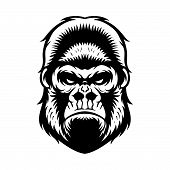 stock photo of gorilla  - gorilla head vector graphic illustration black and white - JPG