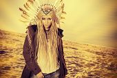 pic of indian beautiful people  - Fashion shot of a beautiful girl in style of the American Indians - JPG