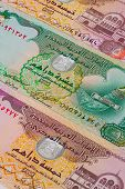 image of dirhams  - Different Dirham banknotes from Emirates on the table - JPG
