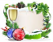stock photo of winterberry  - Christmas wreath with baubles parchment and glass of champagne on a white background - JPG