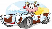 picture of feeling stupid  - cow with cheese go by car  - JPG