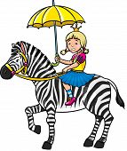 image of sob  - Children vector illustration of crying princess with an umbrella and zebra - JPG