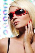Beauty Blond Woman In Red Fashion Sunglasses