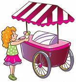 stock photo of ice-cream truck  - Children vector illustration of small girl with ice cream near the ice - JPG