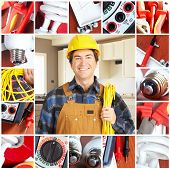 stock photo of people work  - Handsome electrician in yellow uniform - JPG