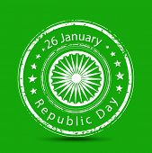 stock photo of ashoka  - Grungy rubber stamp with Ashoka Wheel and text on green background for Indian Republic day celebrations - JPG