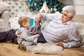 stock photo of grandpa  - Toddler boy and his grandpa playing with toy dinosaur at Christmas tree - JPG