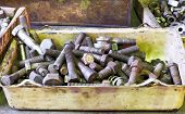 picture of workbench  - many old bolts in box on workbench in turnery room - JPG
