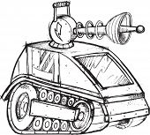 stock photo of armored car  - Armored Tank Vehicle Sketch Vector Illustration Art - JPG