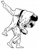foto of judo  - two judo black belts, one throwing the other. black/white image.