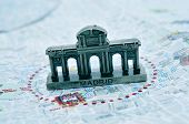 picture of neoclassical  - a miniature of the Puerta de Alcala on a map of Madrid - JPG