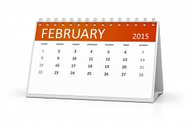 stock photo of february  - An image of a table calendar for your events February 2015 - JPG