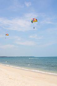 pic of parasailing  - Parasailing at a tropical island close up - JPG