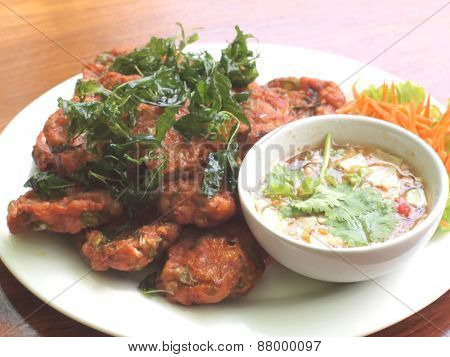 Fried Fish Cake With Cucumber Sauce