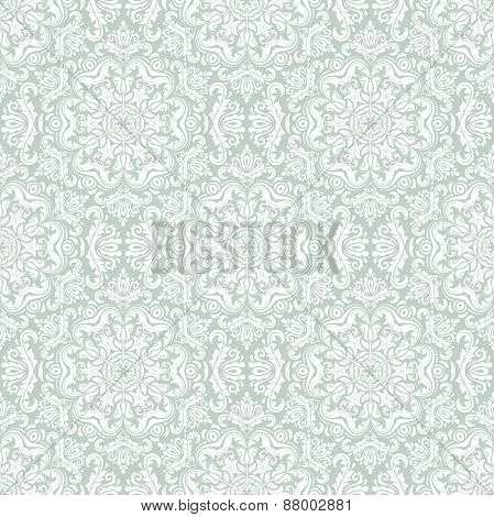 Damask Seamless  Pattern. Orient Background. Blue and White Colors