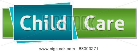Child Care Green Blue Button Style