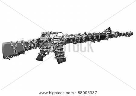 a rifle chained with white isolated background representing weapon usage control