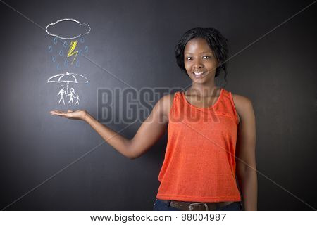 South African Or African American Woman Teacher Or Student Thinking About Protecting Family From Nat