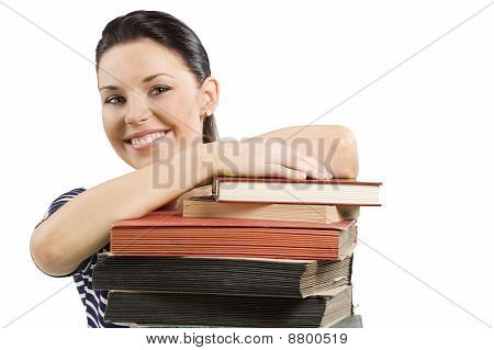 Student Smiling Over Book