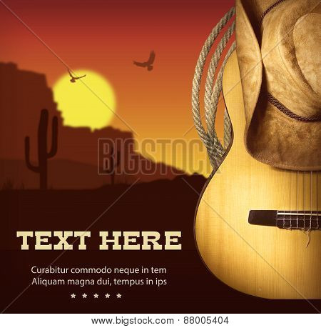 American Country Music Poster.western Background With Guitar And Cowboy Hat