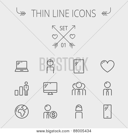 Technology thin line icon set for web and mobile. Set includes - laptop, tablet, computer, globe, man, woman, heart, statistics icons. Modern minimalistic flat design. Vector dark grey icons on light