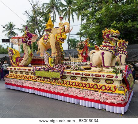 Bangkok, Thailand - February 7, 2015: Chiang Mai Flower Festival at Suan Buak Hat Park, annual street parade featuring marching bands and giant floats decorated with flowers