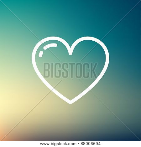 Heart icon thin line for web and mobile, modern minimalistic flat design. Vector white icon on gradient  mesh background.