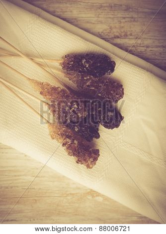 Vintage Photo Of Crystal Brown Rock Sugar Candy On A Stick