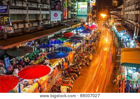 Warorot Market And Long Exposure Night Life