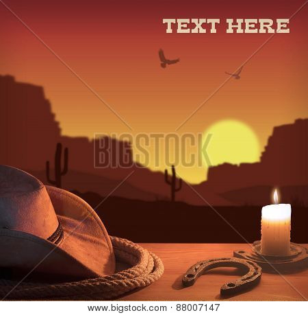 Western Background With Cowboy Hat And Rope