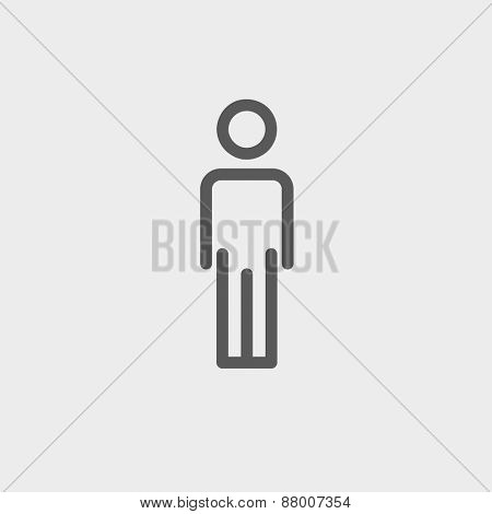 Man standing icon thin line for web and mobile, modern minimalistic flat design. Vector dark grey icon on light grey background.