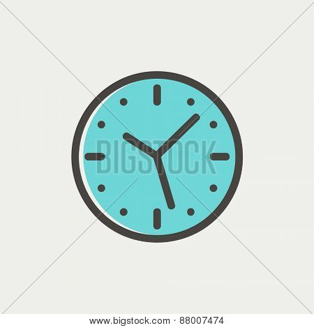 Clock icon thin line for web and mobile, modern minimalistic flat design. Vector icon with dark grey outline and offset colour on light grey background.